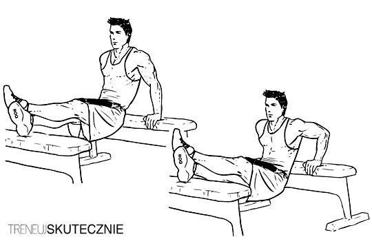 Mężczyzna robi dipy (pompki na poręczach) z nogami opartymi o ławeczkę.